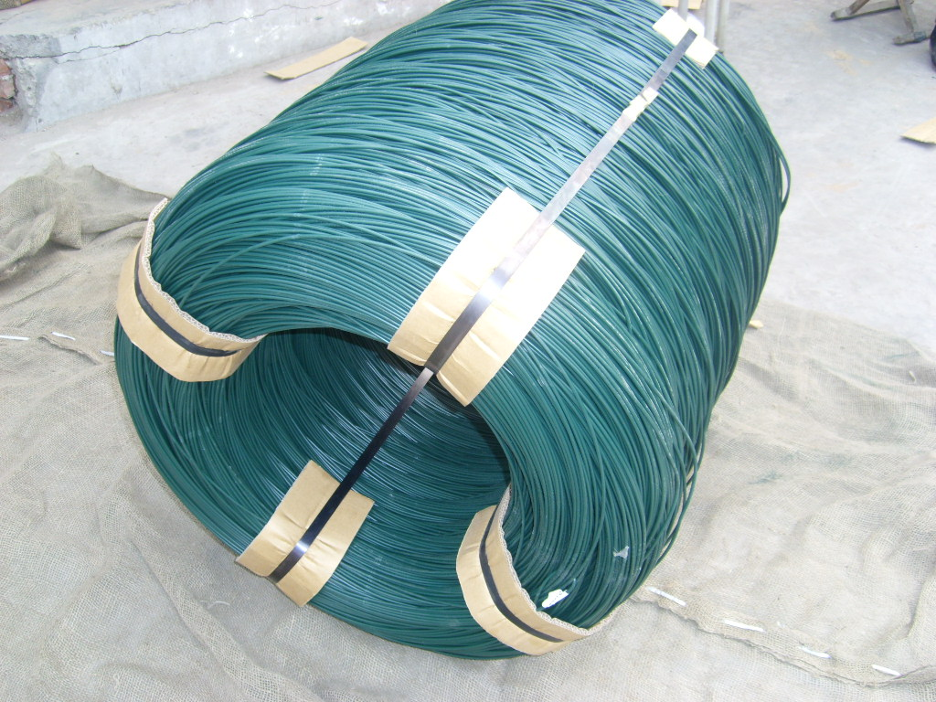 green plastic coated wire