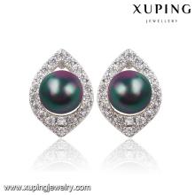 Moda agradável imitação de pérolas cz jóias com diamantes brinco studs-91596