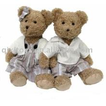 Recheado menino & menina urso de pelúcia com casaco, animal macio dos namorados brinquedo