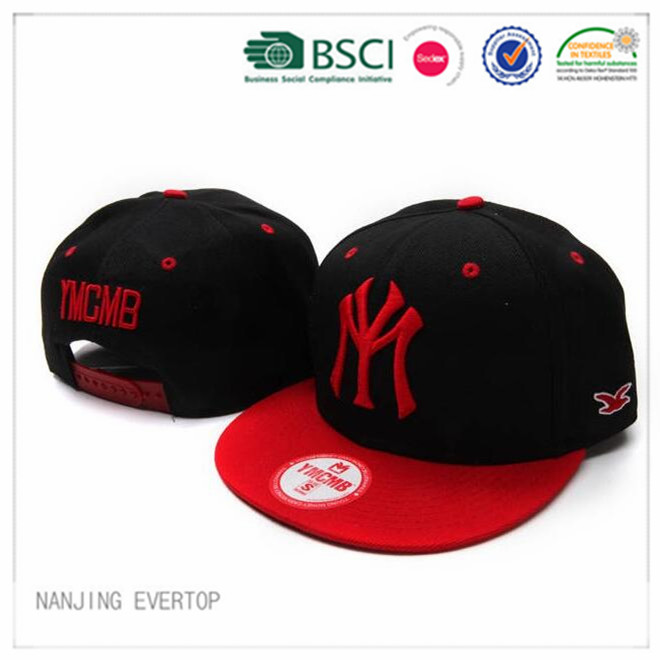 3D NY-Stickerei schwarz flach Bill Cap