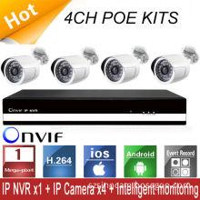 Poe Bullet High Resolution Nvr Kit , 1 Megapixel Motion Detection Ip Camera