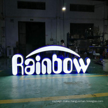 Customized 3d led shop name board sign face and back lighting letters logo