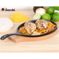 Gusseisen Sizzling Steak Platte Wooden Base
