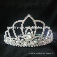 Pageant Mariage fleur de cristal Tiara Couronne pour fête de mariage Party