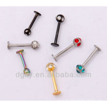 Stainless steel Labret with gem Ball/magnetic labret piercing