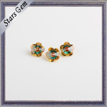 Beautiful Flower Shape Yellow CZ and Green Glass Gemstone