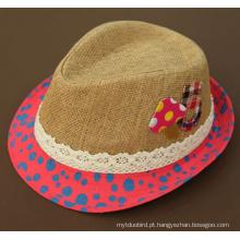 Chapéu do verão do jazz da forma da palha da menina