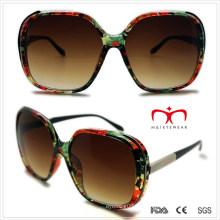 Plástico senhoras óculos de sol com decoração de metal (wsp508292)