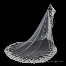 2017 Spitze Hochzeit Brautschleier Hijab lang und Zubehör 5m
