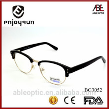 2015 hotselling round black acetate hand made spectacles optical frames eyewear eyeglasses with half-rim metal