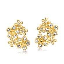 24k Dubai Gold Luxus Blumen Schmuck Set einschließlich Halskette, Armband, Ohrring, Ring