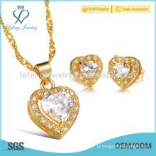 Ouro diamante coração brincos, cobre chapeamento coração conjunto jóias