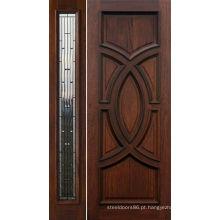 Porta exterior da madeira maciça do estilo clássico do artesão da noz pintada