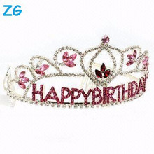 Wholesale small red crystal hair accessories kid's birthday crowns