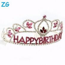 Atacado pequeno vermelho cristal cabelo acessórios miúdo do aniversário coroa