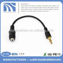 3,5 milímetros macho para 2,5 milímetros feminino estéreo jack adaptador de cabo de áudio para o telefone mp3 ipod