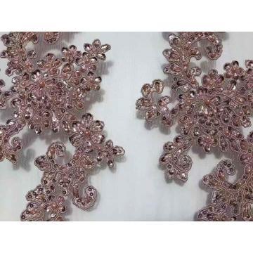 Tecido de bordado deslumbrante de lantejoulas para vestidos de noiva