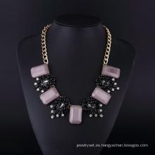 Collar de chapado en oro púrpura Acryl Bohemia Style