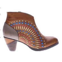 Chic Flower Cutouts Leather Western Inspired Ankle Boots