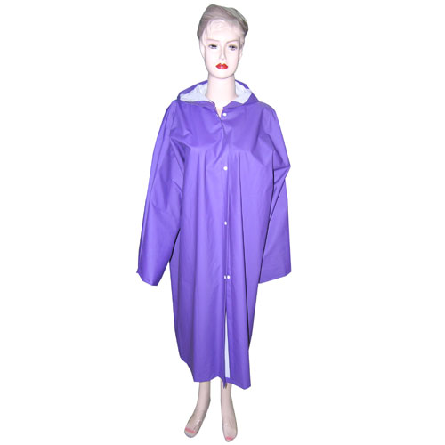 Womens Purple PVC Raincoat