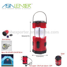 BT-4775 Pull up Turn On-Push Down Turn Off 8LED Foldable Solar Lantern Camp Lights