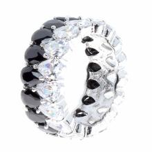 925 Silber CZ Finger Ring 2 Tone Silber Schmuck Großhandel