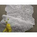 Algodão suíço de alta qualidade branco & guarnição líquida de nylon do laço