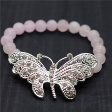 Rose Quartz 8MM Round Beads Stretch Gemstone Bracelet with Diamante alloy big butterfly Piece