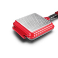 Red Aluminum Die-casting Square Double Grill Pan