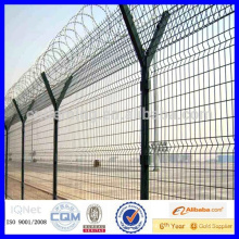 pvc coated green and dark green barbed wire airport fence