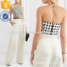 Cropped Gingham Cotton-blend Halterneck Top Manufacture Wholesale Fashion Women Apparel (TA4131B)
