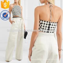 Gingham recortada mistura de algodão halterneck top manufatura atacado moda feminina vestuário (t4131b)