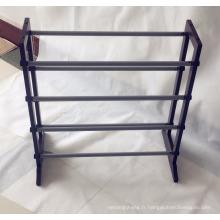 Étagère extensible de chaussure de longueur de bois solide de 4 rangées pour l'organisateur de stockage de chaussures de longueur de 100cm