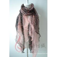 Écharpe d'impression numérique en mousseline de soie