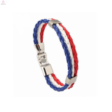 World Football Cup 2018 Wholesale Custom Leather Jewelry Flag Bracelet