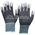 Black Nylon Glove with PU Coated on Fingertips (PN8013)