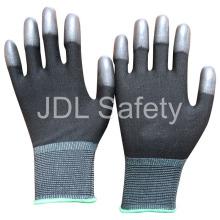 Schwarze Nylon-Handschuh mit PU beschichtet auf Fingerspitzen (PN8013)