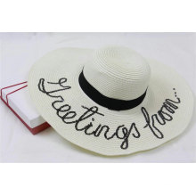 2020 popular wide brim women wholesale summer beach sun floppy paper straw hat with appliques embroidery