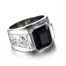 Black Agate Single Stone Gouden zilveren ring