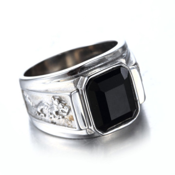 Black Agate Stone Single Emas silver Ring