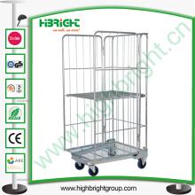 Trole de gaiola de rolo de armazenamento com quatro rodas