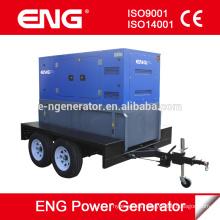 Generador diesel de remolque de 2 ruedas, grupo electrógeno portátil de 30KW
