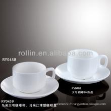 Ensemble de tasses à café d'hôtel et de restaurant, gobelets et soucoupes antiques