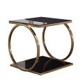Luxury round black tempered glass coffee table with gold metal frame