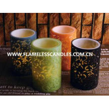 Flameless 2 Layer Carved LED Pillar Candles , Safety Colorf