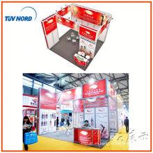 Exhibición de stands de exposiciones de exposiciones portátiles de aluminio de dos lados, sistema de stands expo de diseño libre