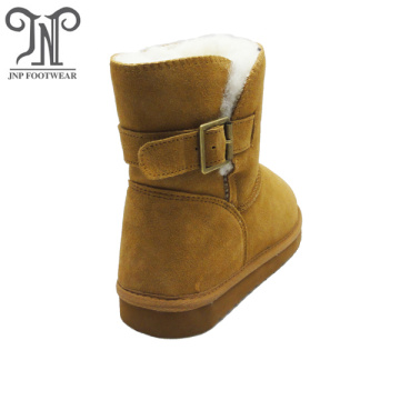 Winter warm snow leather Belt Buckle Short boots
