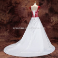 2017 lace appliques cap sleeve satin A-line wedding dress with real pictures