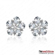 Pendientes exquisitos de la joyería de la flor de la manera / Brinco (CER0026-B)