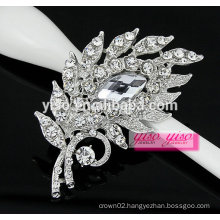 fashion vintage feather crystal rhinestone brooch for wholesale